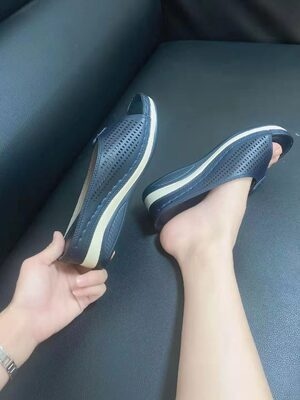 Women Round Head Sewing Sandals Slope Heel Slippers photo review